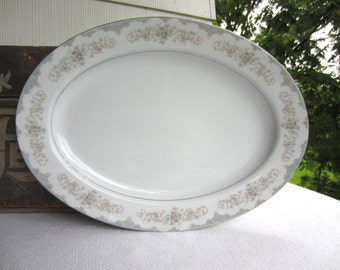 Vintage Large Oval Serving Plate Tudor Rose Royal M Yamaka Japan