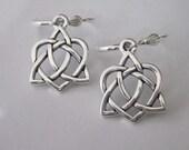 Silver Celtic Knot Earrings, Celtic Earrings, Silver Heart, Drop Dangle leverback, TierraCast Silver Pewter, Celtic Knot Dangle