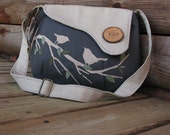 Oatmeal and Dark Gray Large Chattering Birds on a Branch /Tote /Handbag /Handmade /Messenger /Purse/Vegan/ecofriendly/17 color options