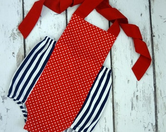 Clearance  Ready to ship, Patriotic Retro Romper, Birthday outfit, Photo Shoot, shower gift, size 6-12 months
