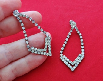 """Vintage silver tone and rhinestone 2"""" pierced earrings in  great condition, great stones"""