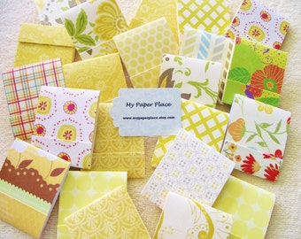 100 -  Matchbook Note Pads- Sunny Shades of Yellow- Assortment  - 12 sheets- PRIORITY SHIPPING
