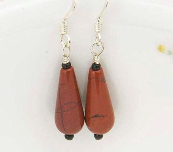 Red Jasper Earrings- Jasper Gemstone Earrings- Root Chakra Jewelry- Rustic Earrings