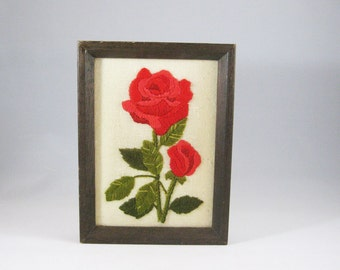 Vintage Red Rose Needlepoint, Retro Embroidered Picture