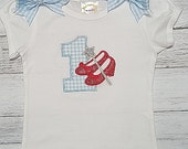 Dorothy Red Glitter Shoes Blue White Gingham Personalized Shirt or Onesie