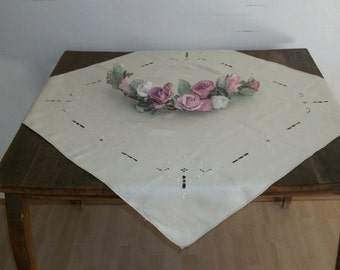 1920s Antique White Linen Tablecloth Square with Art Deco Embroidery Detail and Cut Outs Very Pretty