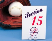 Baseball Theme Table Number Card - Sports Theme Weddings