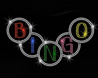"9.8"" BINGO iron on rhinestone transfer applique bling patch"