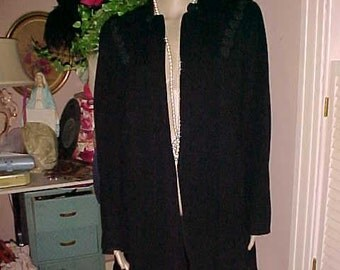 Vintage 40s SWING Coat/Jacket Winter Wool CORD Trim/Lined/Shoulder Pads Dry Cleaned Understated CHIC Good Ready For Fall Winter& Bargain