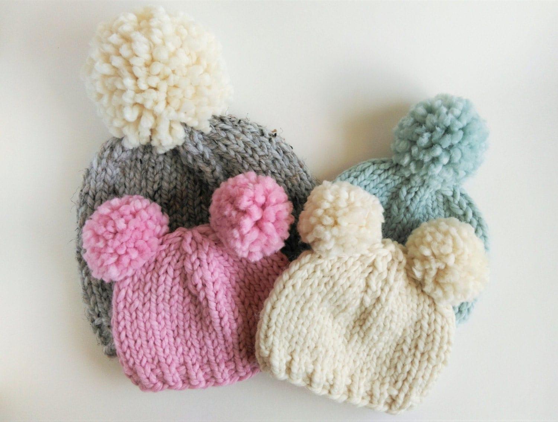 Pom Pom Hat Knitting Pattern : Toddler Hats for Girls // Pom Pom Hats for Girls // Hats for Kids // Newborn ...
