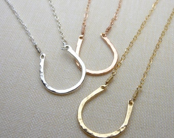 Small Horseshoe Necklace - 14kt Gold Fill - Luck charm necklace - layering necklace - Bridesmaids necklace