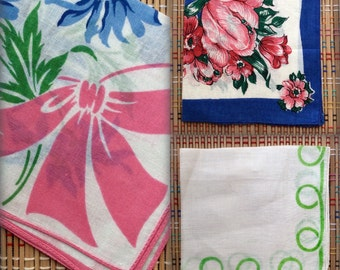 Vintage Handkerchief Trio--Bright Blues, Pinks and Greens