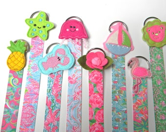 Lilly Pulitzer Hair Bow Holder  Hair Clip Holder Barrette Holder with Matching Ribbon