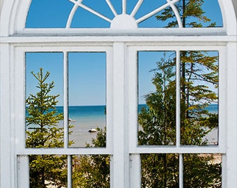 Wall mural window, self adhesive, View of Lake Huron- window view-large 24x36 inches - free US shipping
