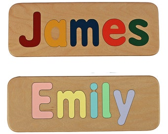 Name Puzzle -  Raised Letter Option -  Wooden Personalized Puzzle-First Birthday Gift - Educational - Mixed Case Letters Only