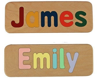 Name Puzzle - Raised Letters - Handmade Wooden Custom Personalized - First Birthday Gift - Educational Toy - Mixed Case Letters Only