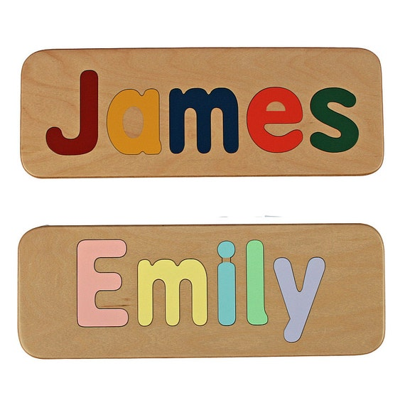 Name Puzzle - Raised Letter Option - Handmade Wooden Custom Personalized - First Birthday Gift - Educational Toy - Kids Wood Name