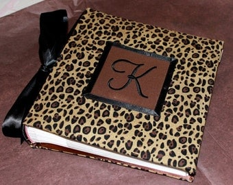 Recipe Organizer-Monogrammed Leopard or Cheetah Print Recipe Album With Custom Recipe cards and File tabs