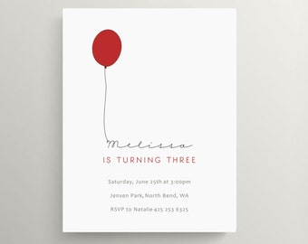 red balloon birthday invitation set // baby shower invitation // simple  // modern // birthday balloon // note card // first birthday
