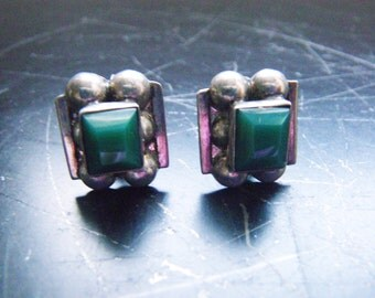 Vintage Mexican Silver Green Stone Earrings