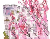 Springtime in Paris, print from original watercolor painting by Jessica Durrant
