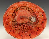 Orange Bowl - Four Footed Anvil Paddled Ceramic Bowl with Original Painting by Jenny Mendes