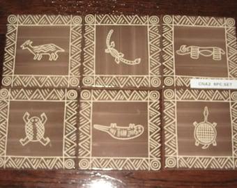 Hieroglyphics Animal Designs on Handmade Hand Painted Antiqua Tiles 6 pc Lot 180