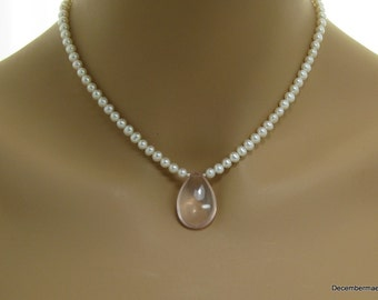 Freshwater Pearl Necklace with Rose Quartz Briolette in Sterling Silver