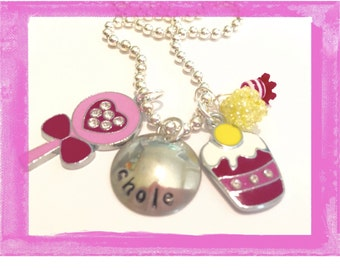 Charm necklace for Girls Personalized - Hand Stamped  Lollipop Ice Cream SWEET Jewelry for Children