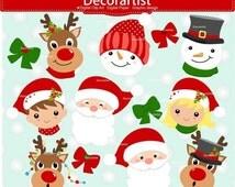 ON SALE Christmas clipart, Santa claus faces clipart,christmas faces clipart, snowman faces clipart, instant download
