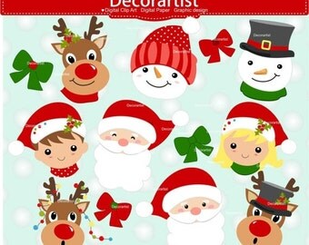 ON SALE Christmas clipart, Santa claus faces clipart,christmas faces clipart, snowman faces clipart, instant download