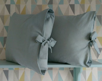 Handmade Soft Linen Pale Grey Tied Pillow Cover