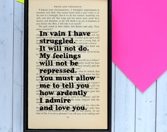 Jane Austen Quote - Mr Darcy - Pride and Prejudice - Romantic Quote - Wedding Gift - Engagement Gift - Girlfriend Gifts - Boyfriend Gifts