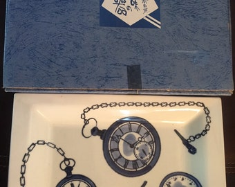 Vintage boxed japan porcelain tray with pocket watches