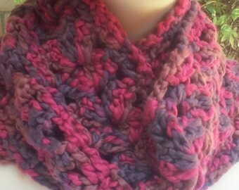 Thick Chunky Soft Scarf / Red and Brown Scarf / Chunky Scarf / Soft Scarf / Crochet Scarf /
