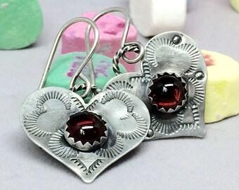 Heart Earrings, Red Garnet Heart Dangle Earrings, Sterling Silver Dangles, Valentine Day Gift for Her