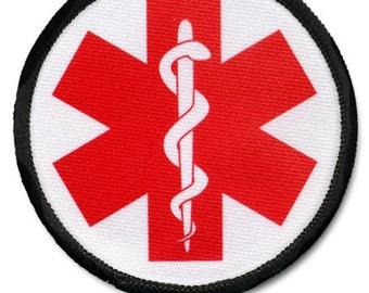Red Medical Alert Symbol Warning Round Sew On Patch Choose Size and Rim Color