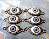 6 Eye pendant jewelry connectors antique silvertone metal evil eye charms evil eye links 02B- (BB5)