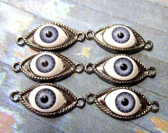 6 Eye pendant jewelry connectors antique silvertone metal evil eye charms evil eye links 02B- SR5-4
