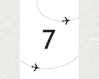 plane travel table numbers - printable file - come fly with me aviation wedding, come fly with me destination wedding table cards decoration