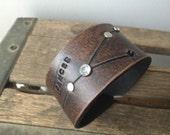 Leather zodiac cuff bracelet- cancer