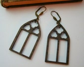 Gothic Arch Window Earrings, Light Weight Wood Cut Outs, Use As Is Or Embellish, USA