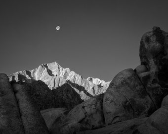 Moon Setting over Lone Pine Peak - Fine Art Print