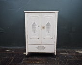 Primitive Tin Cabinet / Antique Country Farmhouse Jelly Cupboard