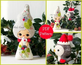PDF Pattern. Holly fairy and Christmas Robin