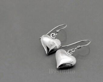Small heart earrings, heart dangle earrings, dainty drop, sterling silver or gold filled ear wire, holidays gift, everyday jewelry, B9studio