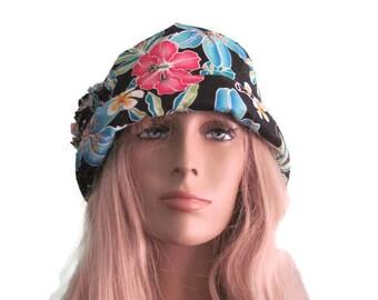 Black Tropical Print Bucket Cloche Hat Summer Hat Beach Hat