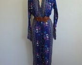 70s BOHO Harem Jumpsuit Made in India Gauze metallic thread size medium
