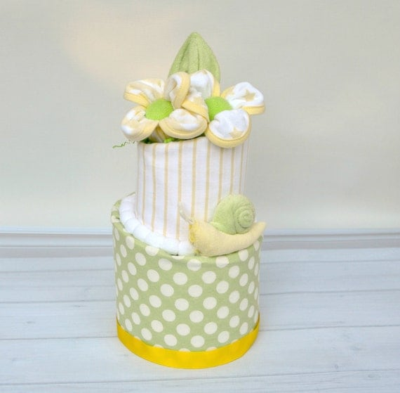 Neutral Shower Cake, Baby Shower Decorations,  Diaper Cake, Yellow and Green Baby Shower, Snail Baby Shower, Unisex Baby Gift, Polka Dots