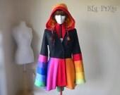 Hi Low Women's Spring Rainbow Carosel Jacket, Gypsy Hippie Polar Fleece Hoodie, Fitted Cinched Waist Fairy Elven Clothing